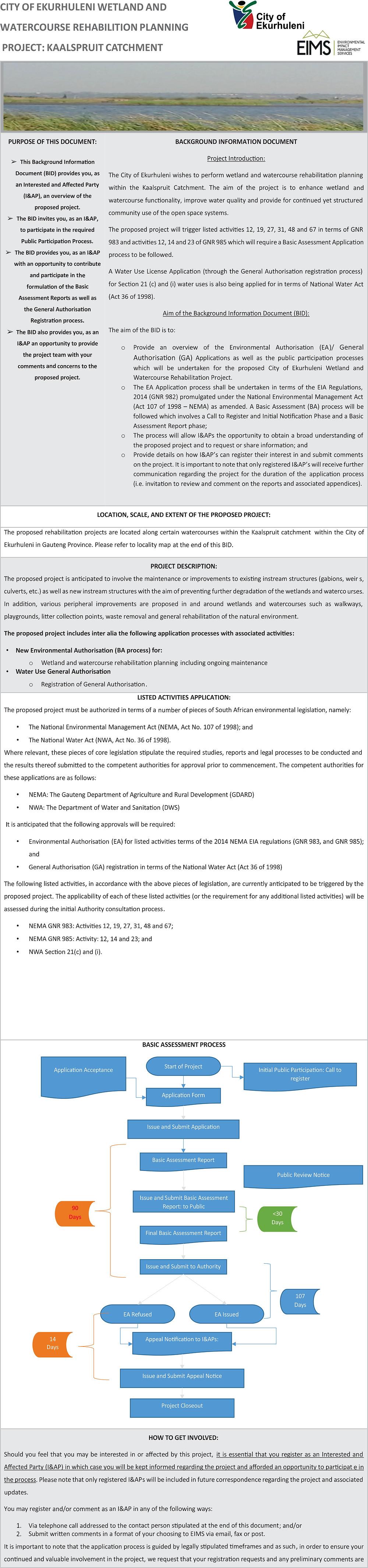 Kaalspruit Catchment Rehabilitation Planning Project