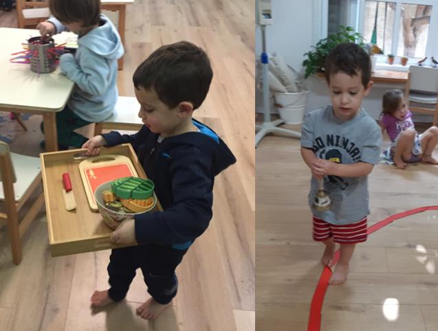 על קו, משמאל - דצמבר 2018 - הולך עם מגשדניאל, בן 4, מימין - ספטמבר 2018 - מתרגל הליכה