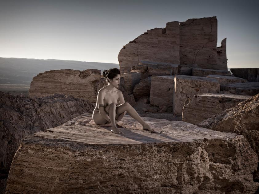 Vanessa sobre roca plana II