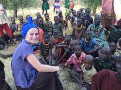 Natasha with a tribe in Moroto
