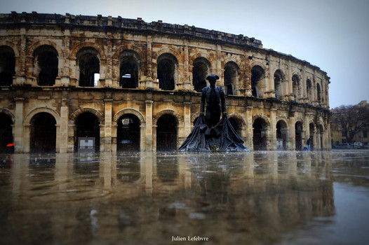 Jour de pluie, Arénes de Nîmes