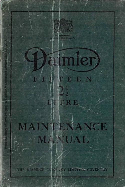 Daimler 15 1939 2½ Litre Maintenance Manual R601_2069