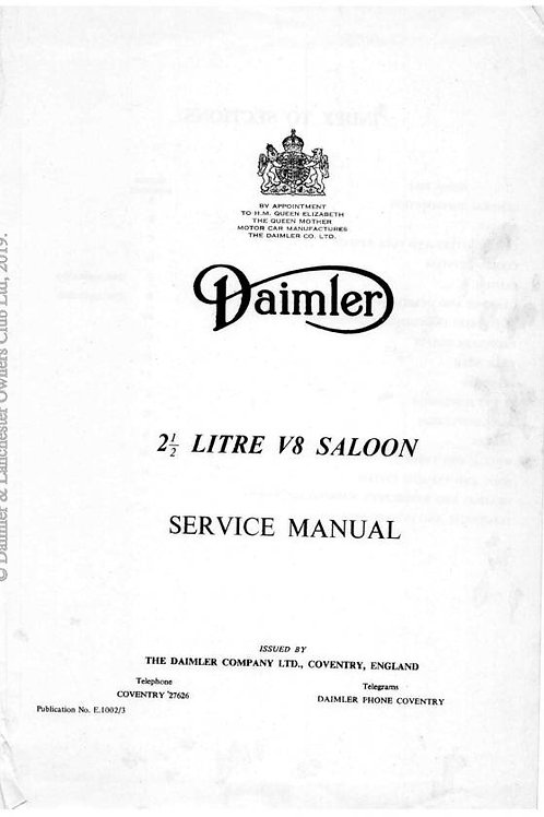 Daimler V8 2.5 litre Saloon and V8 250 Service Manual E1002_3