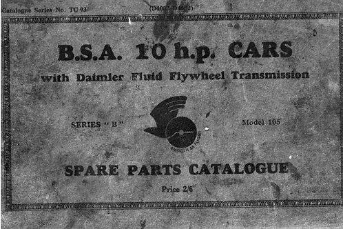 BSA 10hp Spare Parts Catalogue TC93 Model 105