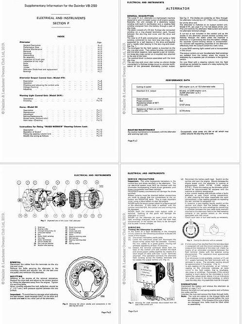 Daimler V8 250 maintenance supplement E1019_1 (17 pages)