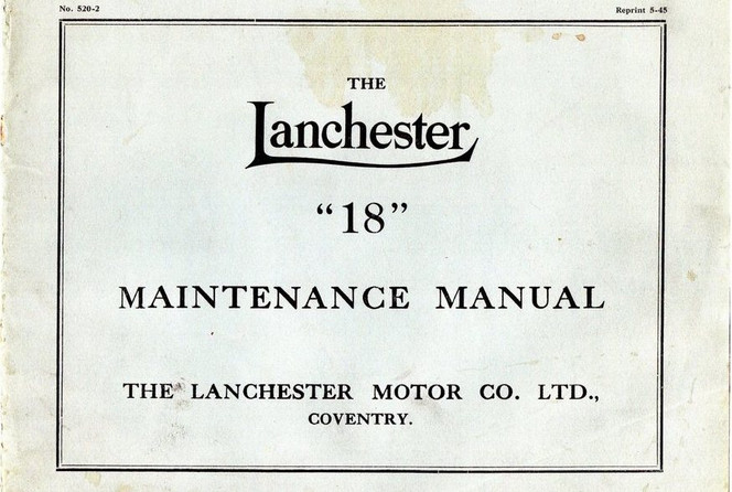 Later (19.3hp) Lanchester 18 Maintenance