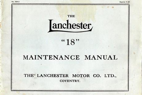 Later (19.3hp) Lanchester 18 Maintenance