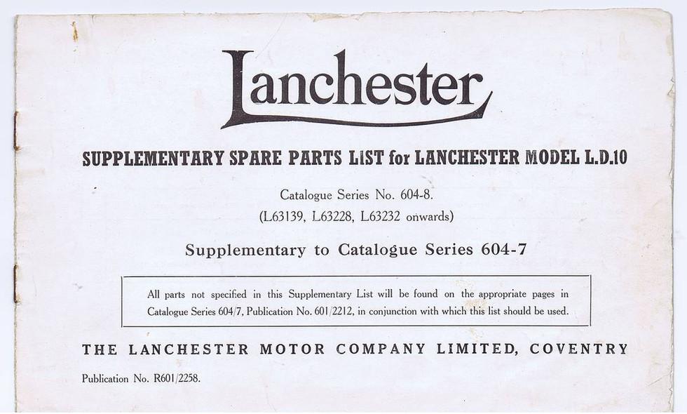 LD10 Parts catalogue 604-8  Supplement t