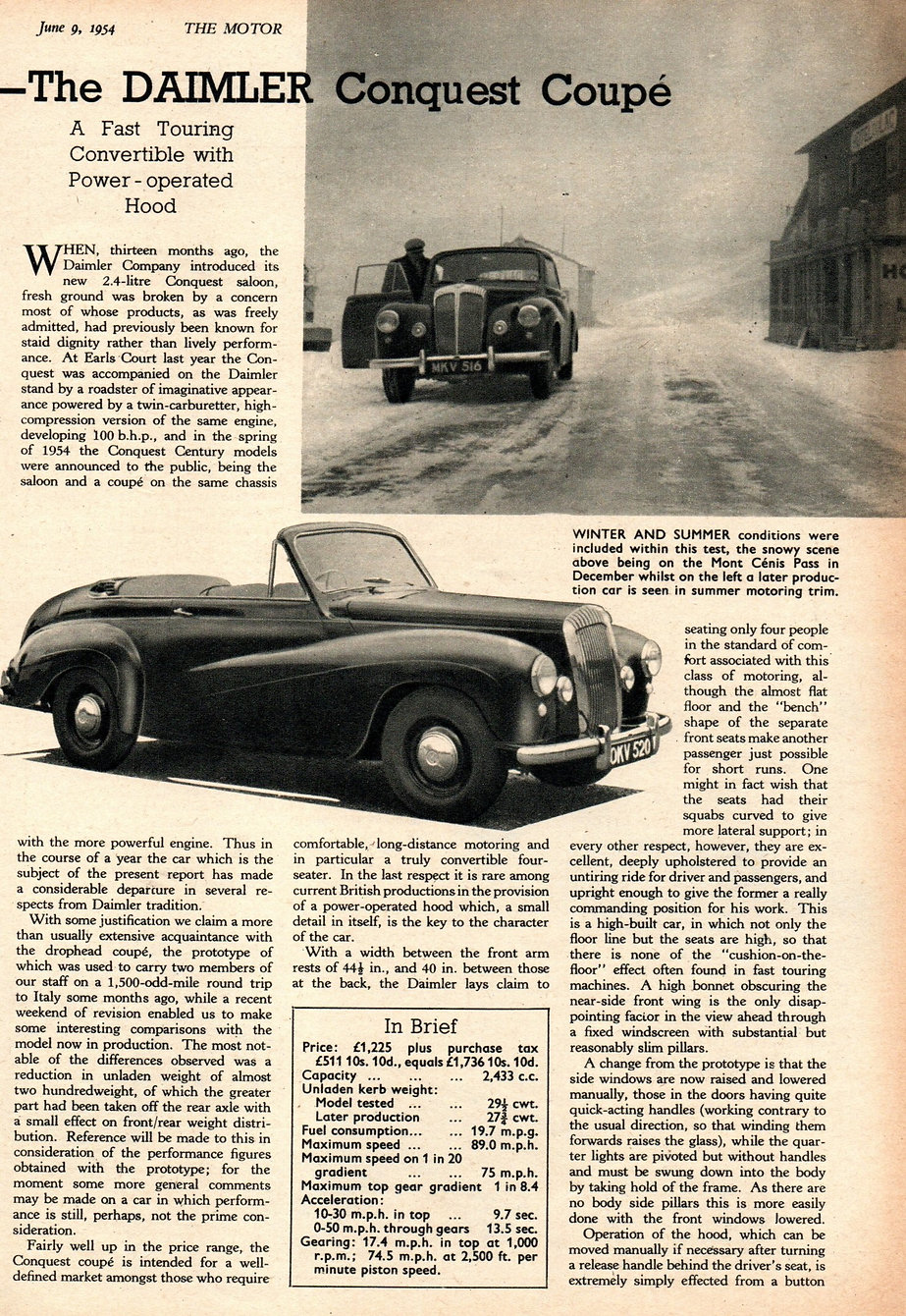 Daimler Conquest DHC The Motor 9 June 19
