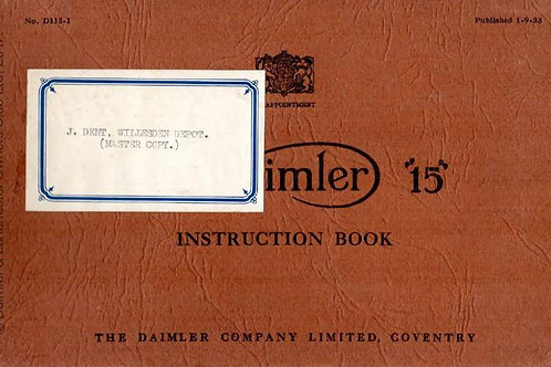 Daimler 15 1935 Drivers Instructions Ref D113-1