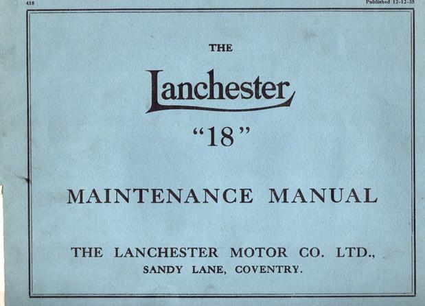 Earlier  (19.3hp) Lanchester 18 Maintena