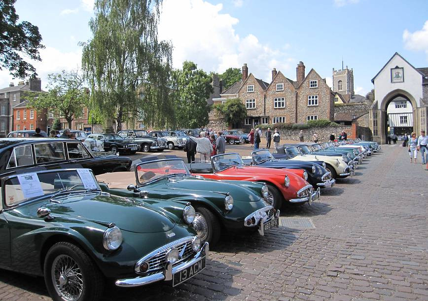 Party in the grounds of Norwich Cathedral to mark the retirement of the SP250-owning Dean, the Very Rev'd Graham Smith