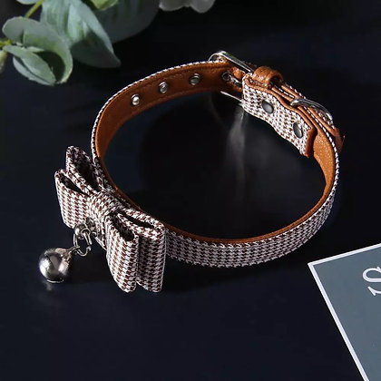 Leather BowKnot Small Dog Collar