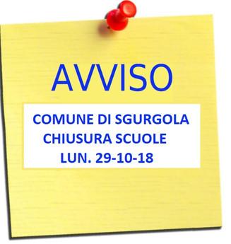 Allerta Meteo: CHIUSURA SCUOLE per Lunedì 29/10/18.