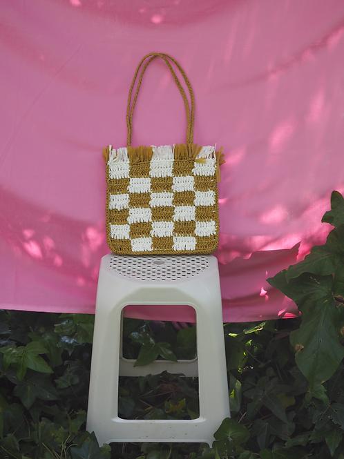 Raffia Bag - Mustard & White