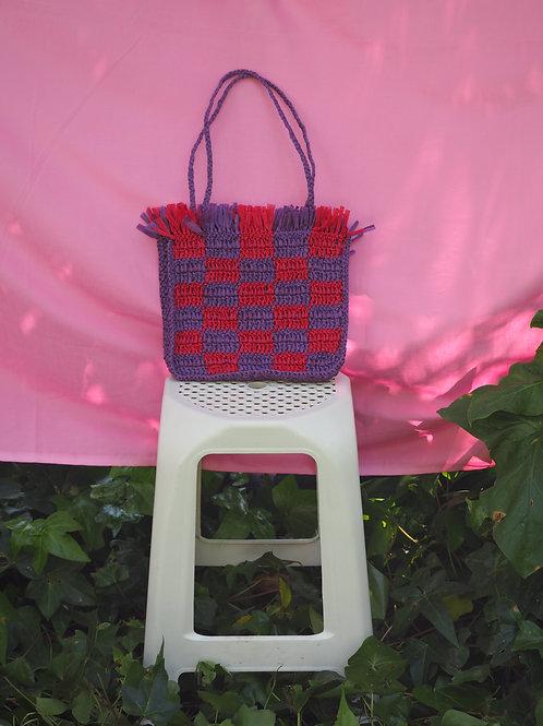 Raffia Bag - Purple & Red