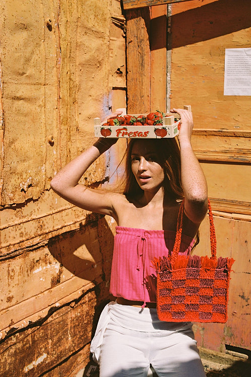 Cherry  Knit Top Fuchsia
