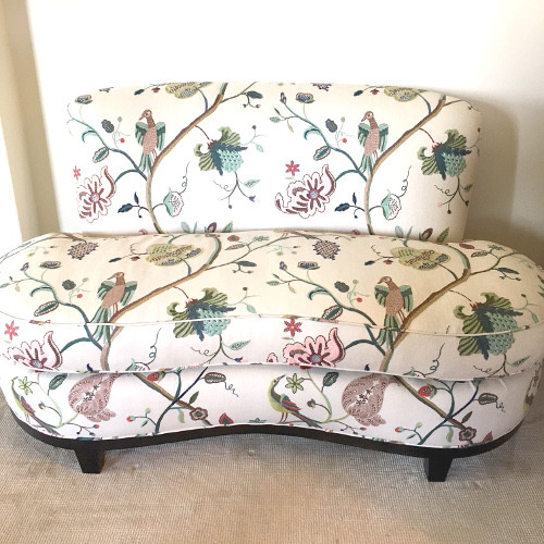 Embroidered Fabric for Custom Upholstered Loveseat