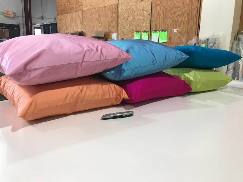 Beautiful knit backed silk pillows