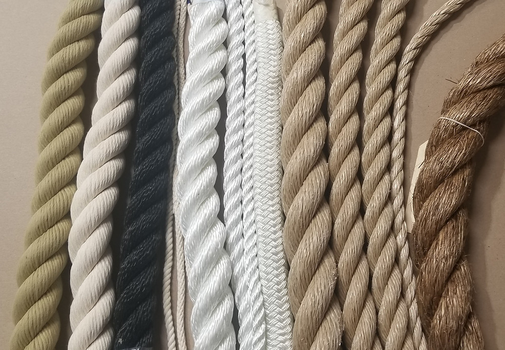 Variety of natural and synthetic decorative ropes