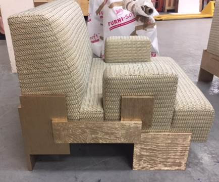 Custom Upholstered Chair with Knit Backed Woven Chapas Fabric