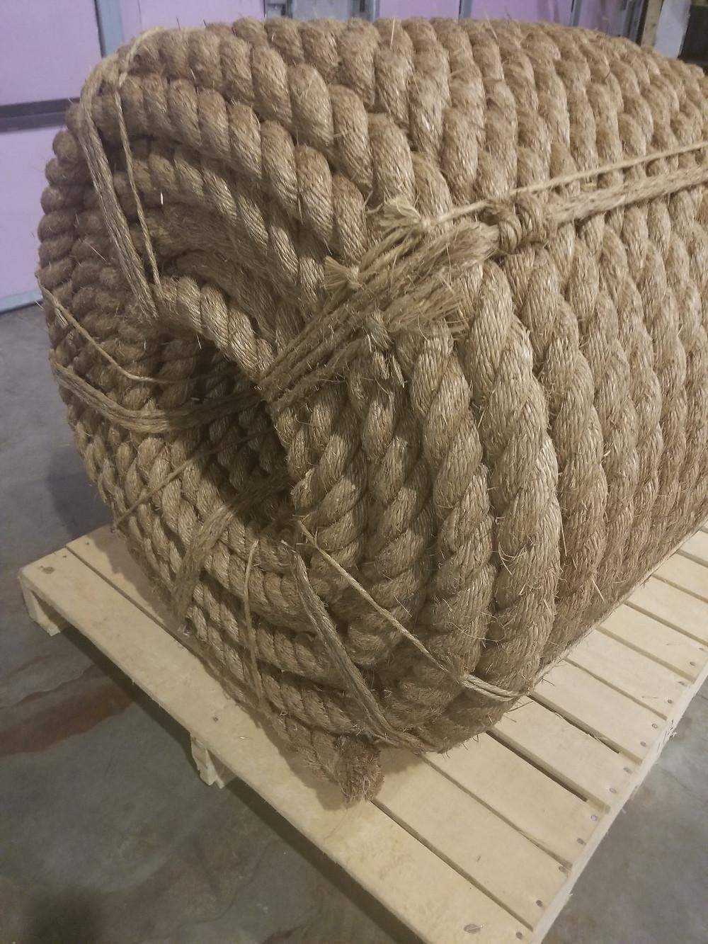 Large spool of natural manila decorative rope