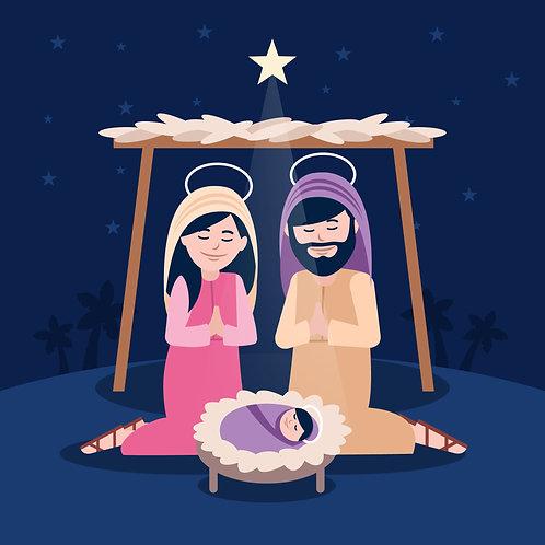 Đức  Mẹ  Và Thánh Giuse Cầu  Nguyện Cùng Chúa Giêsu Giáng Sinh