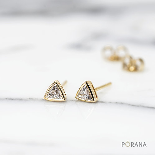 Trilliant cut Diamond Stud Earrings in 14k/18k solid gold and platinum