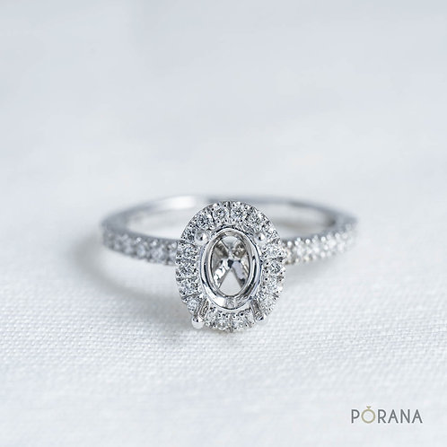 Oval Halo Ring, Semi Mount, for 0.50 ct diamond