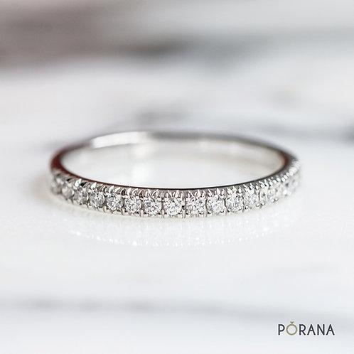 French pave Round Brilliant cut diamond ring,  diamond wedding band ring