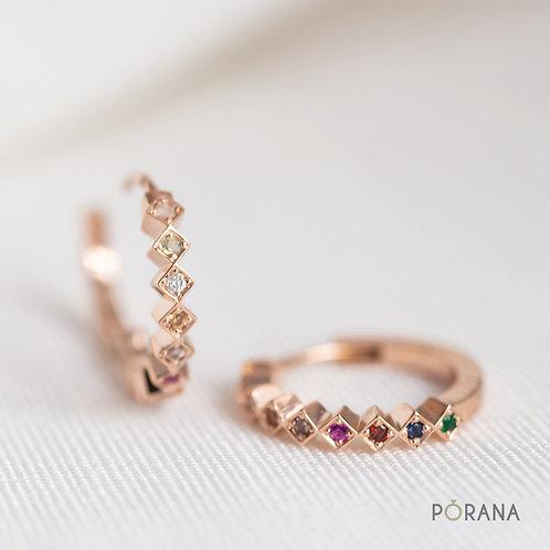 WEAVE | Multicolored Navaratna Huggie Hoop Earrings