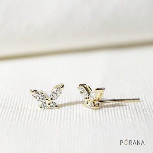 Butterfly Diamond Stud Earrings in 14K Solid Gold