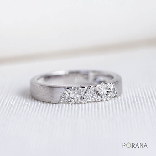 Trilliant cut diamond band ring