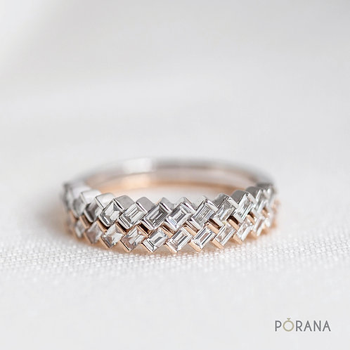 [WEAVE] Baguette Diamond Band ring, stacking ring
