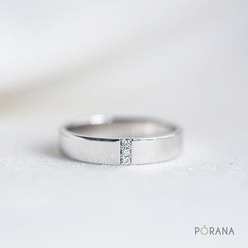 Vertical Diamond Row Wedding Band with 3 diamonds