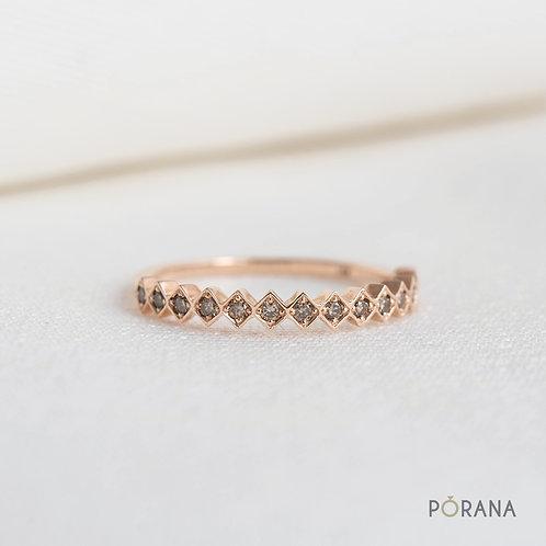 WEAVE | Champagne Round Diamond Band ring in 14K solid gold, stacking ring