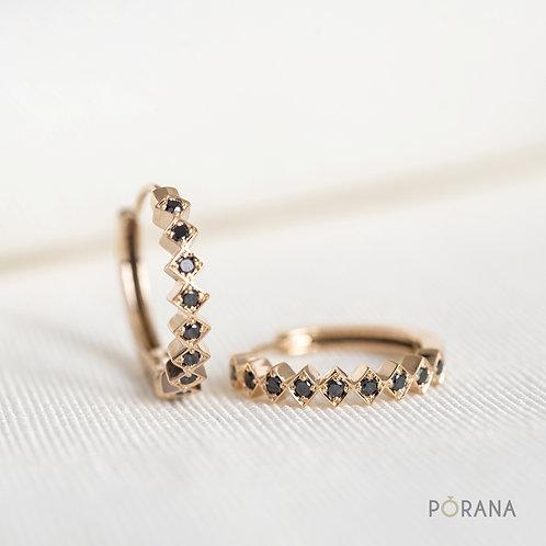 WEAVE | Black Diamonds Huggie Hoop Earrings
