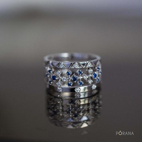 PA SINH | 3 Stacking Blue Sapphire & Diamond rings