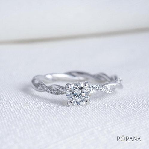 Petite Twist Diamond Engagement Ring with delicate diamond details