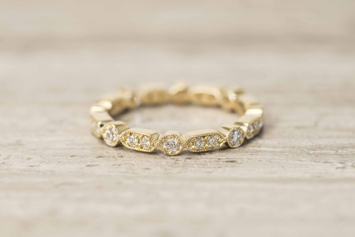 Eternity Classic Vintage Style Wedding Ring In 14K Solid Gold