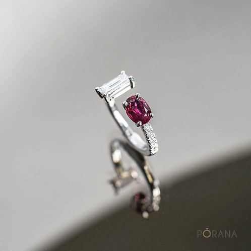 Mixed Cuff Ring with Ruby and Baguette Diamond