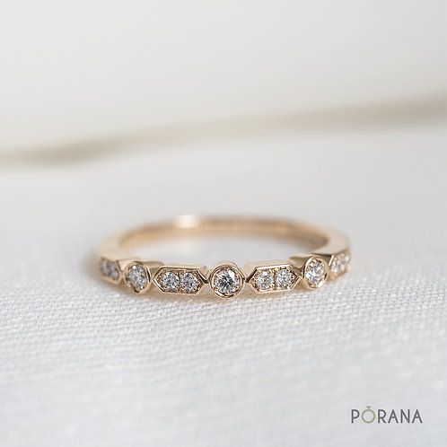 Classic Vintage style Wedding Band/Round Brilliant cut Diamond Band ring