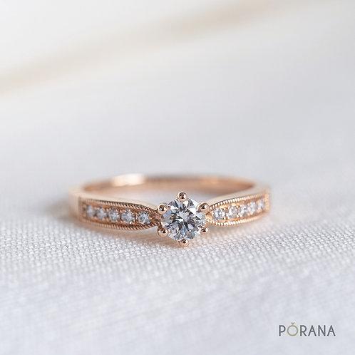 Round Diamond Engagement Ring with milgrain edge
