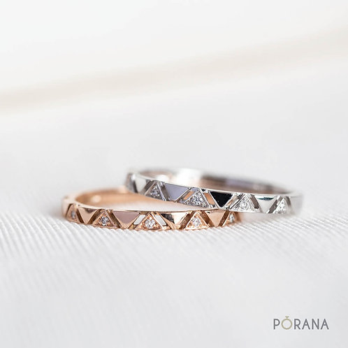Triangle shape Diamond Band ring, stacking ring, Pa Sinh collection