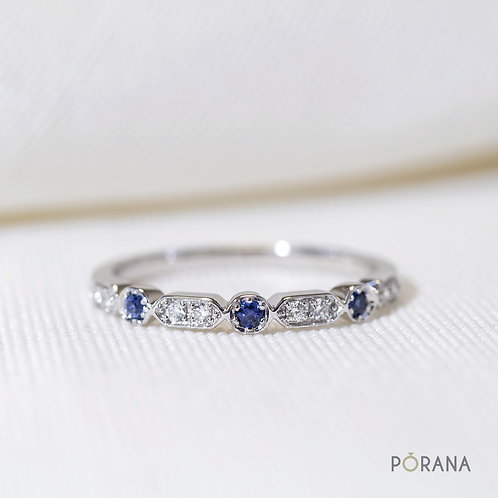 Classic Vintage style Blue Sapphire and Round Brilliant cut Diamond Band ring