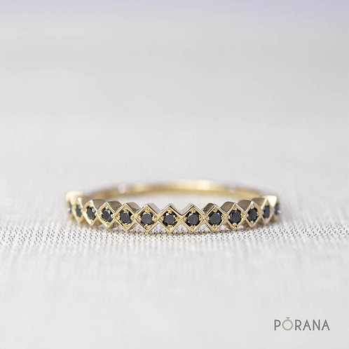 [WEAVE] Black Diamond Band ring in 14K solid gold, stacking ring