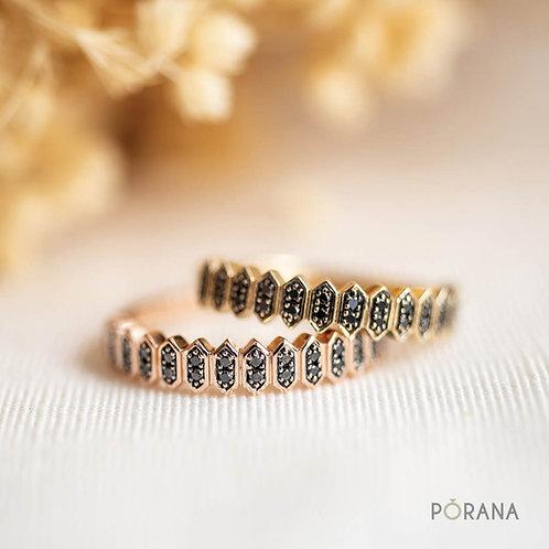 WEAVE | Black Diamond Band ring, stacking ring