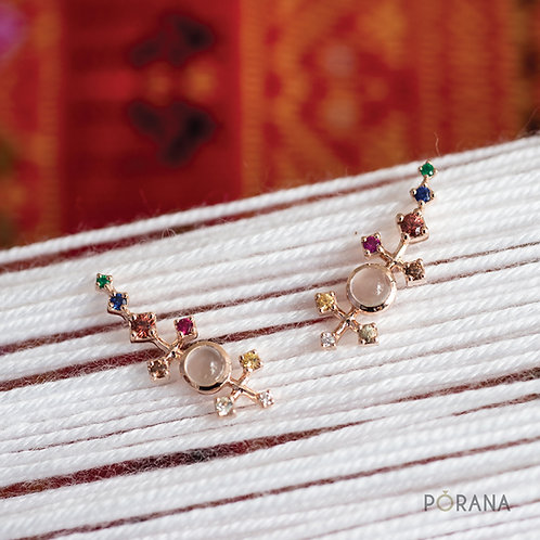 Pa Sinh | climbing earring with multicolor gemstones and diamonds [Navaratna]