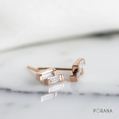 Double Baguette Diamond stud earrings in 14K/18K solid gold and Platinum