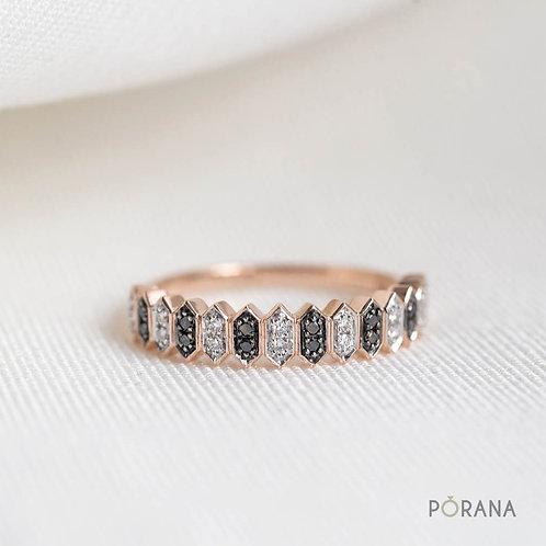 WEAVE | Black&White Diamond Band ring